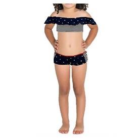 Biquini Infantil Ciganinha BotoRosa Azul com Bolinhas