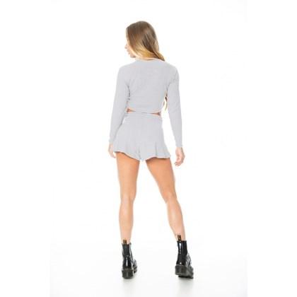 Blusa Cropped Let'sGym Canelado Fashion Mescla Claro