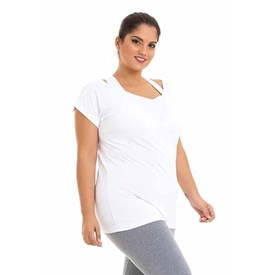 BLUSA MANGA CURTA BEST FIT MULTIPIC PLUS SIZE BRANCO