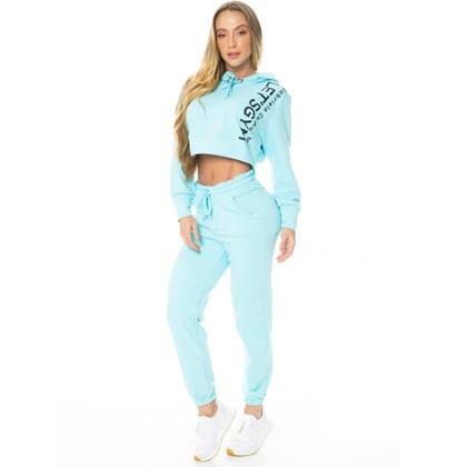 Calça Jogger Let'sGym Fleece Trend Azul