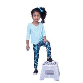 Calça Legging LeFruFru Infantil Penas Azuis