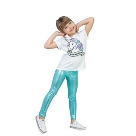 Calça Legging LeFruFru Infantil Verde Brilho Agua
