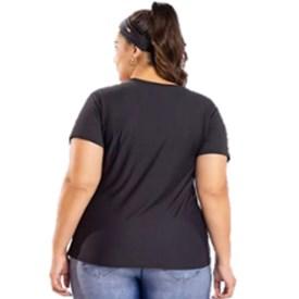 Camiseta Baby Look Plus Size Holograpic Live Preta