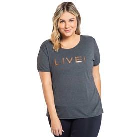 Camiseta Baby Look Plus Size Live Essential Mescla