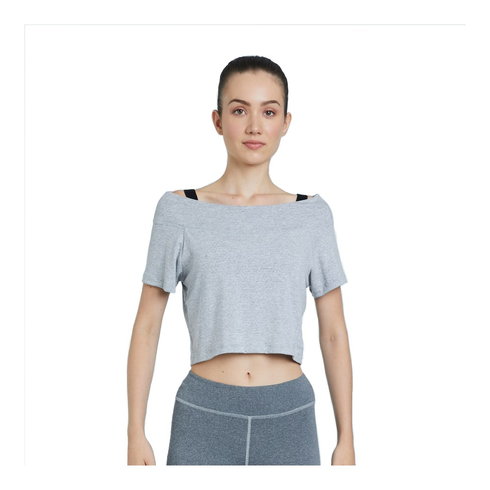 Camiseta Cropped La Clofit Ahimsa Mescla