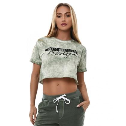 Camiseta Cropped Let'sGym Tie Die Verde