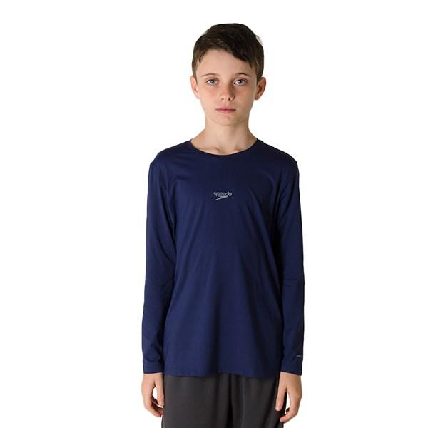 Camiseta Infantil Speedo Manga Longa UV Protection Azul Marinho