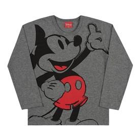 Camiseta Manga Longa Infantil Mickey Kamylus Mescla Cinza