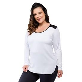 Camiseta Manga Longa Plus Size Trinys Branca