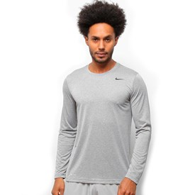 Camiseta Masculina Manga Longa Nike Dri-Fit Cinza