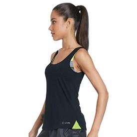 Camiseta Regata La Clofit Air Preta com Detalhe Verde