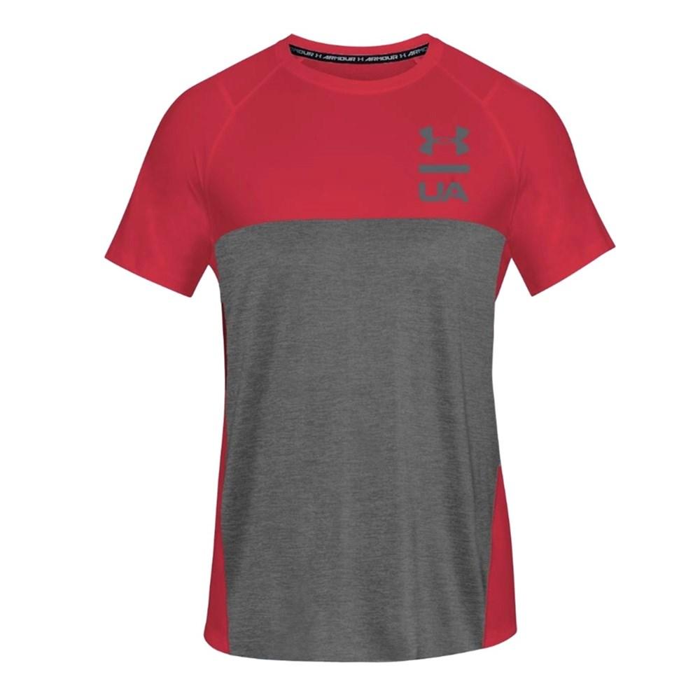 Camiseta Under Armour Tsh Manga Curta Vinho e Cinza