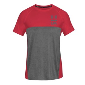 Camiseta Under Armour Tsh Manga Curta Vinho e Cinza