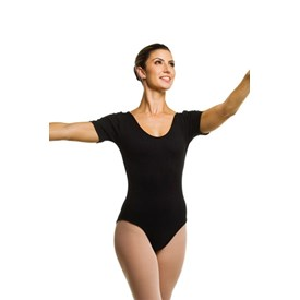 Collant Só Dança Manga Curta  Adulto Preto