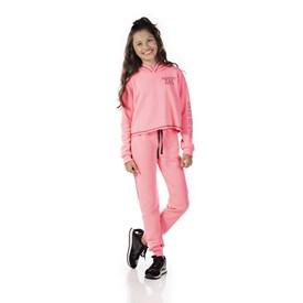 Conjunto Infantil Love Petit Cropped Calça Jogger Rosa Neon
