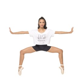 Cropped Feminino AD Shirt Só Dança Branco