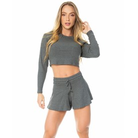 Cropped Let'sGym Canelado Fashion Mescla Escuro