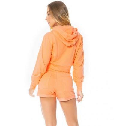 Cropped Let'sGym Fleece Trend Laranja