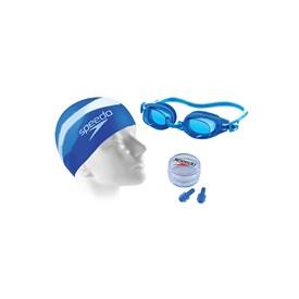 Kit de Natação Adulto Speedo Swim 3.0 com Óculos + Touca + Protetor de Ouvido Azul