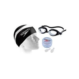 Kit de Natação Adulto Speedo Swim 3.0 com Óculos + Touca + Protetor de Ouvido Preto