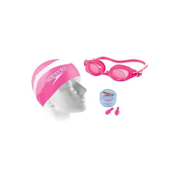 Kit de Natação Adulto Speedo Swim 3.0 com Óculos + Touca + Protetor de Ouvido Rosa