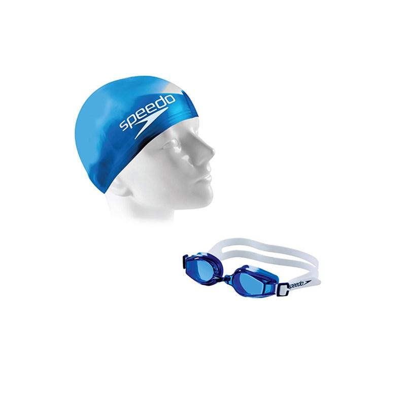Kit de Natação Infantil Speedo Swim 2.0 Junior com Óculos + Touca Azul