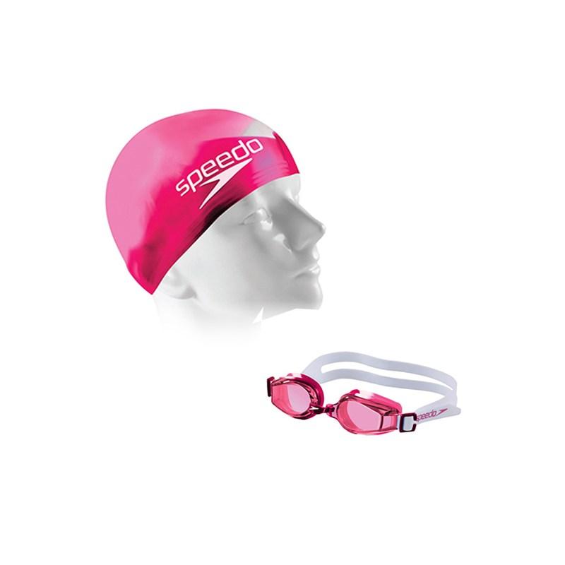 Kit de Natação Infantil Speedo Swim 2.0 Junior com Óculos + Touca Rosa