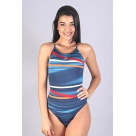 Maiô Sol Fabiola Molina com Alta compressão Listrado Azul e Laranja