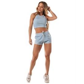 Shorts Moletinho Let'sGym Estonado Azul