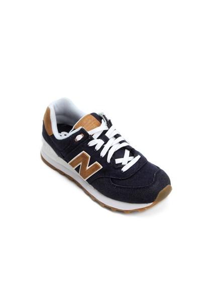 Tênis New Balance Feminino 574 Azul E Dourado - Compre Agora  a5100fc410735